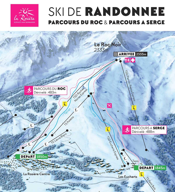 Parcours de ski de randonnée à La Rosière